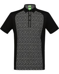 BOSS Green Patterned Regular-fit Polo Shirt: 'pavel' - Gray