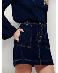 Free People | Womens Wildfire Denim Mini Skirt | Lyst