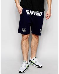 Evisu Sweat Shorts Logo Front Print Indigo - Blue