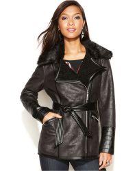 Kensie - Asymmetrical Faux-Fur-Trim Faux-Leather Belted Coat - Lyst