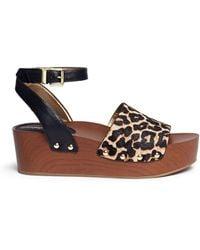 Sam Edelman | 'brynn' Leopard Print Calfhair Wooden Platform Sandals | Lyst