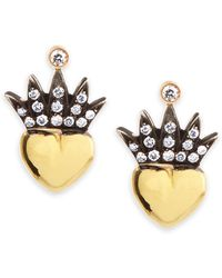 Irit Design Heart & Pave Diamond Crown Stud Earrings - Metallic
