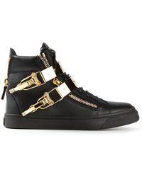 Giuseppe Zanotti Golden Strap Ankle Boots - Lyst