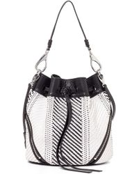 She + Lo 'Make Your Mark' Leather Drawstring Bag - Black