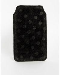 Ganni Leather Iphone Case - Black