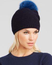 Kyi Kyi Fox Fur Pom-Pom Slouchy Knit Hat - Bloomingdale'S Exclusive - Blue