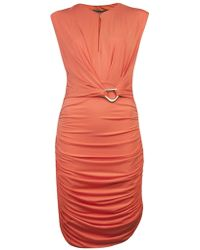 Halston Heritage Ruched Sleeveless Dress in Flame - Lyst