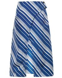 J.W. Anderson Diagonal-Striped Silk Skirt - Lyst