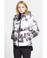 Moncler 'Abbadia' Forest Print Hooded Down Puffer Coat black - Lyst