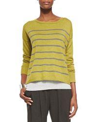 Eileen Fisher Merino Striped Wool Top - Lyst