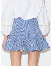 Pixie Market Stripe Ruffled Flared Skirt blue - Lyst