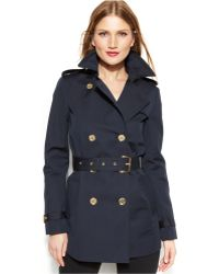Michael Kors Michael Petite Double-breasted Belted Trench Coat - Lyst