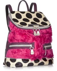 House Of Holland The Backpack and Sack Shearling Calf Hair and Leather Backpack - Lyst