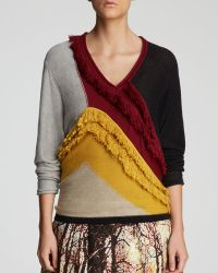 Tracy Reese - Sweater  Color Block Vneck Fringe - Lyst