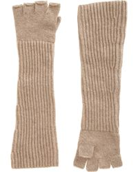 Barneys New York Long Fingerless Gloves beige - Lyst