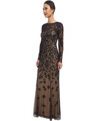 Adrianna Papell Patchy Floral Beaded Illusion Gown - Lyst
