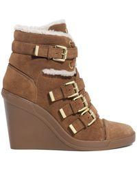 Michael Kors Lizzie Suede Wedge Sneaker - Lyst