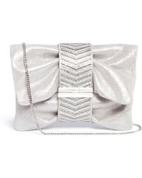 Jimmy Choo | 'chandra S' Crystal Band Metallic Shimmer Suede Clutch | Lyst