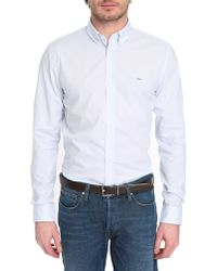 Lacoste Blue Gingham Button Down Shirt - Lyst