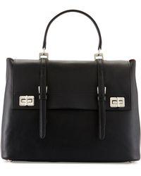 Prada Lux Calf Large Flap Satchel Bag in Black | Lyst