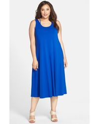 Eileen Fisher Scoop-Neck Racerback Jersey Midi Dress - Lyst