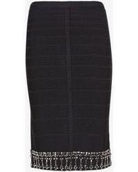 Hervé Léger Bejeweled Hem Bandage Skirt Black - Lyst