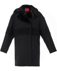 Moncler Gamme Rouge Shearling And Fur-collar Wool Coat - Black