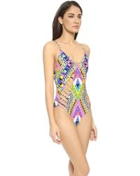 Mara Hoffman Lattice One Piece Swimsuit - Horizon White - Lyst