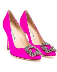 Manolo Blahnik Hangisi Embellished Satin Pumps - Lyst