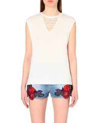 Sandro Lace-Insert Jersey Top - For Women, Ecru white - Lyst