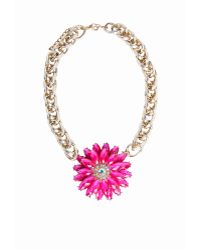 Missguided Statement Floral Necklace Pink - Lyst