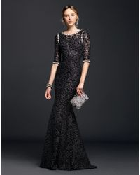 Dolce & Gabbana | Lurex Lace Dress With Crystals | Lyst