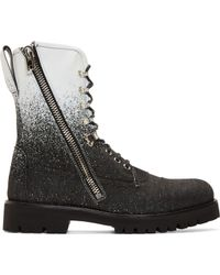 McQ by Alexander McQueen Black And White Spraypainted Denim Combat Boots - Lyst
