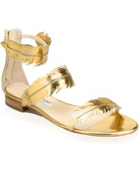 Oscar de la Renta Abigail Metallic Gold Feather Sandal - Lyst