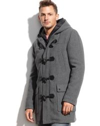 Guess Wool-blend Hooded Nylon-bib Toggle Coat - Lyst
