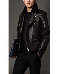 Burberry Nappa Leather Biker Jacket - Lyst