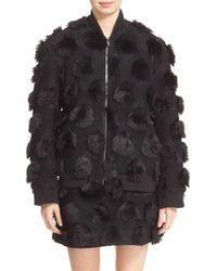 Nicopanda Faux Fur Dot Varsity Jacket - Black