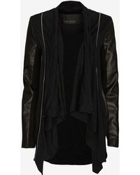 Yigal Azrouel Leather Sleeve Jersey Cardigan - Lyst