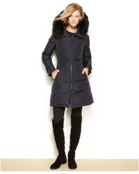 Calvin Klein Plus Size Hooded Fauxfurtrim Quilted Down Puffer Coat - Lyst