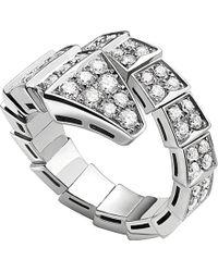 bvlgari serpenti 18ct whitegold and diamond ring lyst