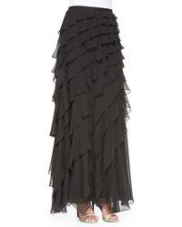 Haute Hippie Chiffon Skirt Wdiagonal Ruffles - Lyst