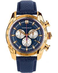 Versace Mens V-ray Gold-tone  Navy Chronograph Watch - Lyst