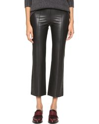 BCBGMAXAZRIA Faux Leather Cropped Trousers - Black