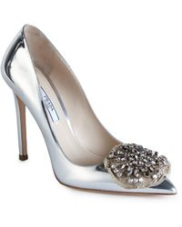 Prada | Embellished Metallic Leather Pumps | Lyst