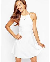 Asos 90'S Skater Dress With High Neck - Lyst