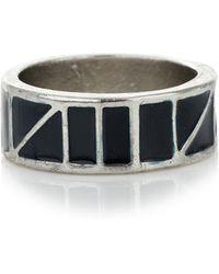 Topman Black Enamel Ring - Lyst