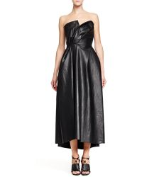 Lanvin Faux-leather Strapless Dress - Lyst