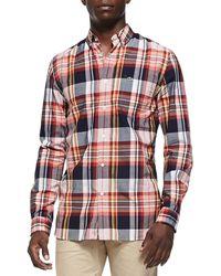 Lacoste Plaid Buttondown Shirt - Lyst