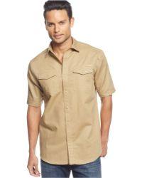 Sean John Short Sleeve Solid Linen Shirt - Lyst