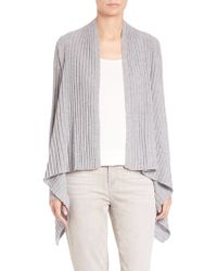Eileen Fisher | Ribbed Cashmere Cascade-front Cardigan | Lyst